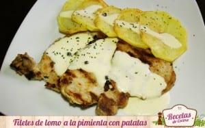 Filetes de lomo en salsa a la pimienta