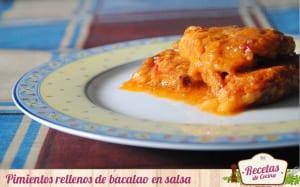 Pimientos rellenos de bacalao en salsa