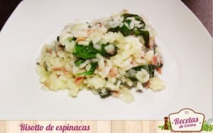 Risotto de espinacas y bacon