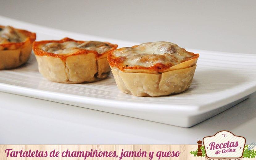 Tartaletas de champiñones, jamón y queso