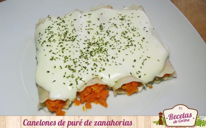 Canelones de puré de zanahorias
