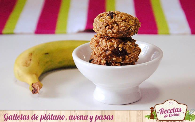 Galletas de plátano, pasas y avena