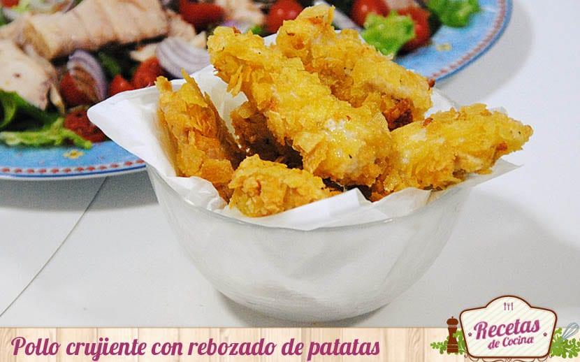 Pollo crujiente con rebozado de patatas