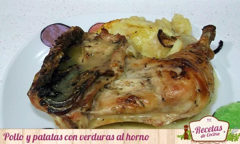 Pollo y patatas con verduras al horno