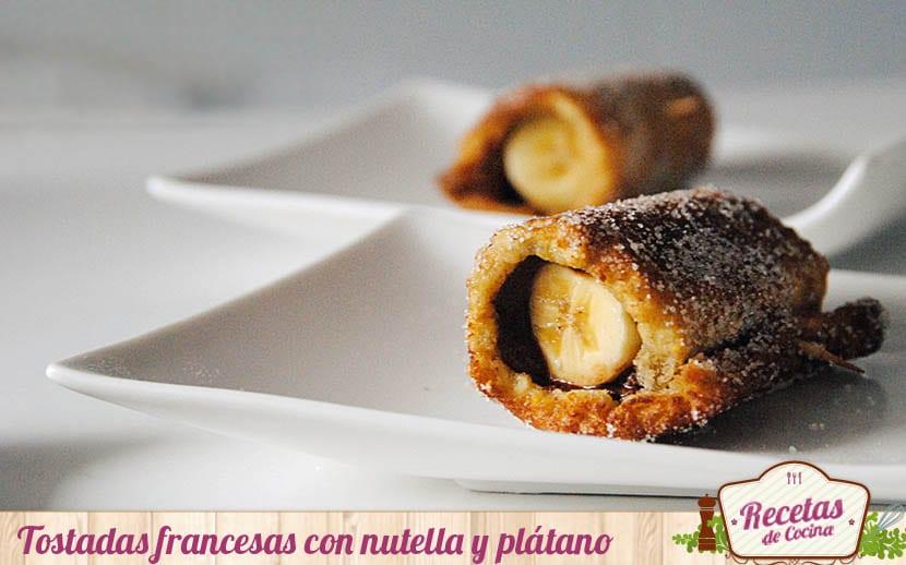 Tostadas francesas con nutella y plátano