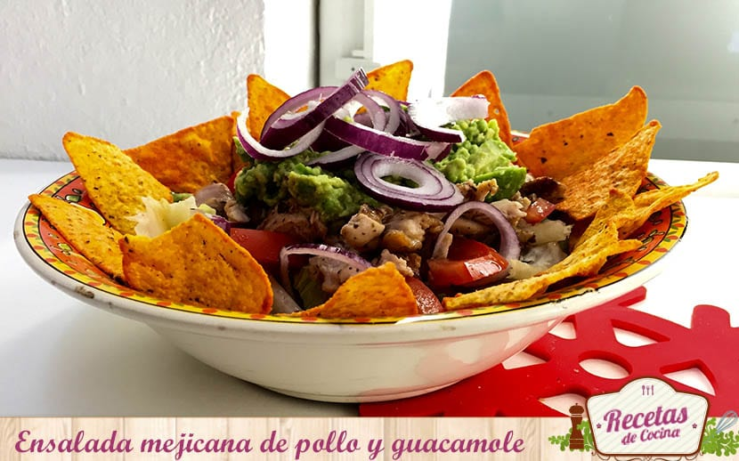 ensalada mejicana de pollo y guacamole