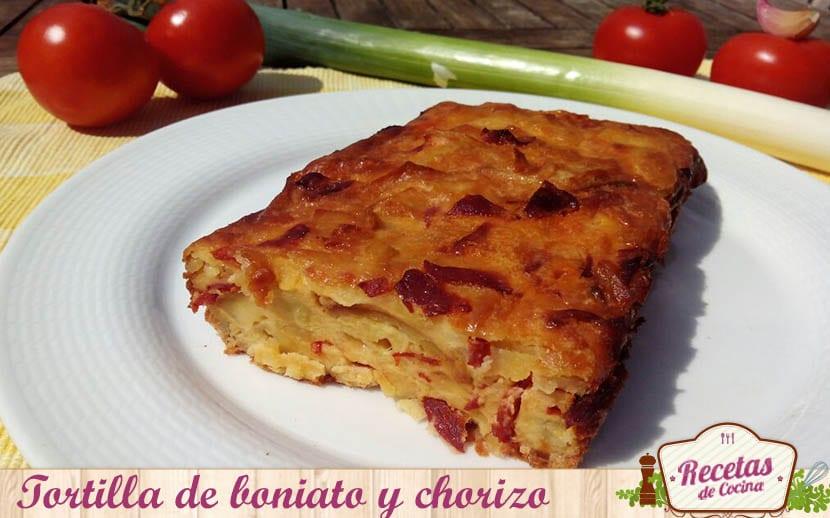 tortilla de boniato y chorizo
