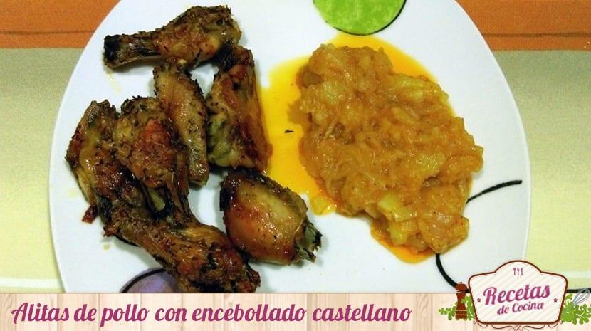 Alitas de pollo con encebollado castellano