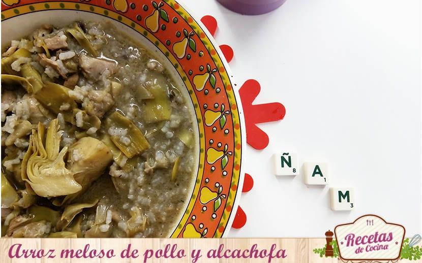 arroz meloso de pollo y alcachofa