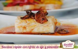 Bacalao rápido con refrito de ajo y pimentón