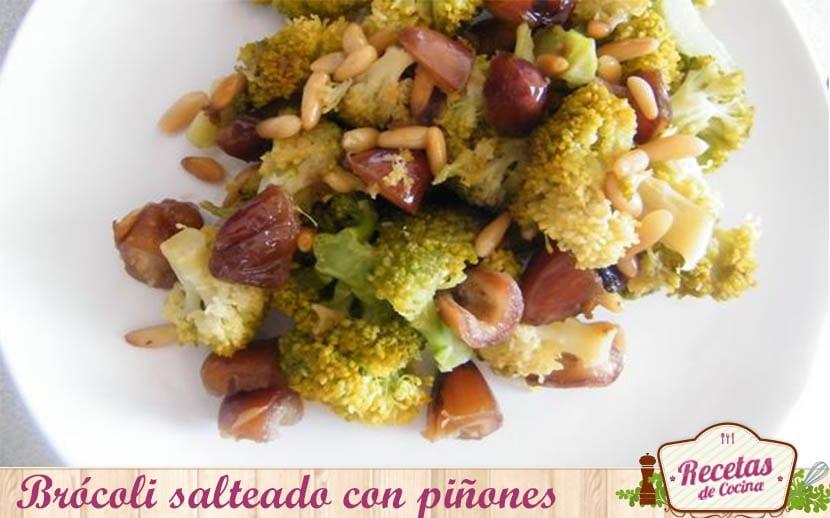 brócoli salteado con piñones