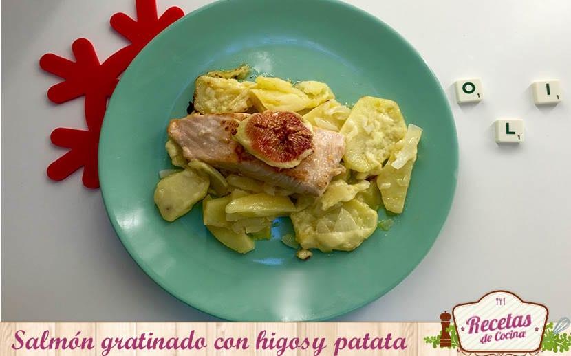 Salmón gratinado con higos y patatas
