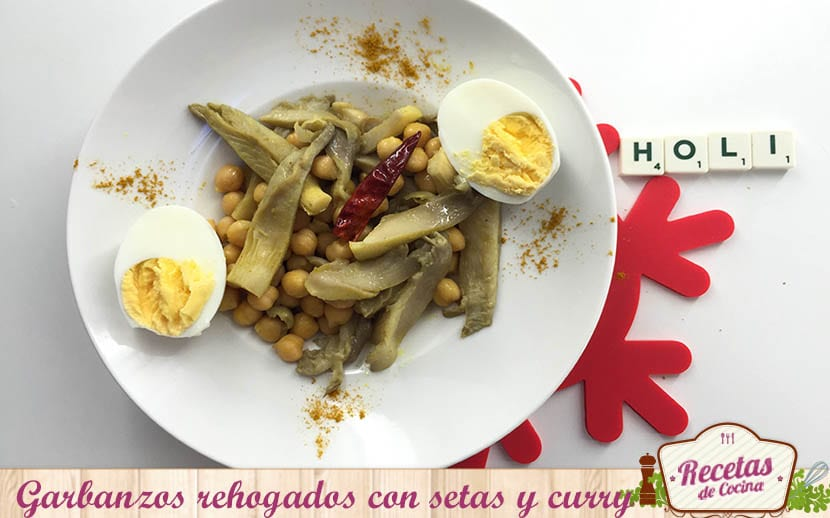 garbanzos rehogados con setas y curry