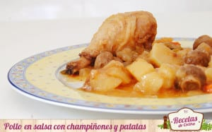 Pollo en salsa con champiñones y patatas