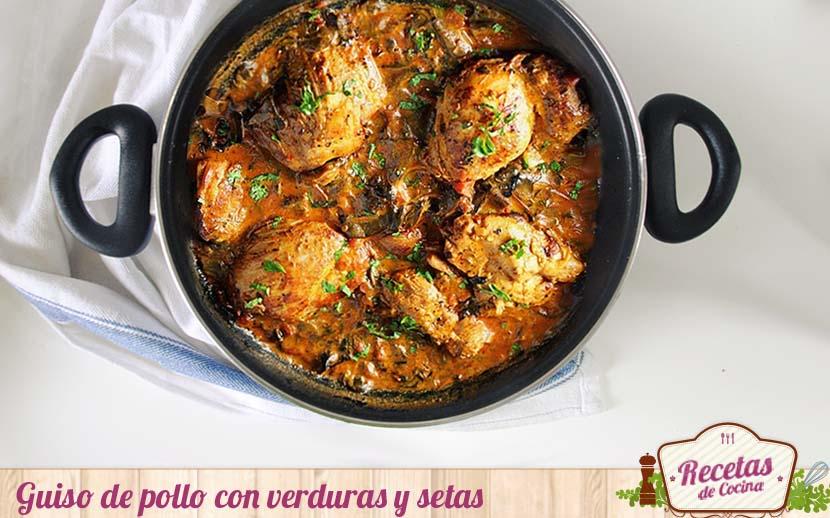Guiso de pollo con verduras y setas