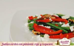 Judías verdes con pimiento rojo y requesón