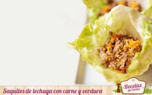 Saquitos de lechuga con carne y verdura