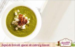 Sopa de brócoli, queso de cabra y bacon