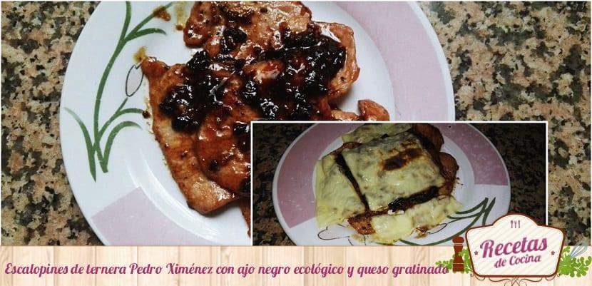 escalopines-de-ternera-pedro-ximenez-con-ajo-negro-ecologico-y-queso-gratinado