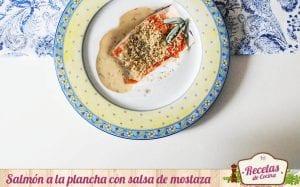 Salmón a la plancha con salsa de mostaza