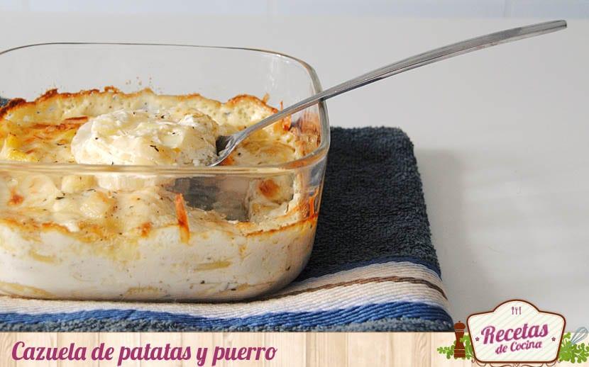 Cazuela de patatas y puerro