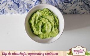 Dip de alcachofa, aguacate y espinaca