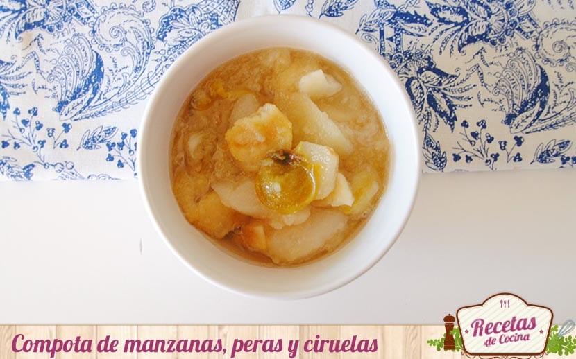 Compota de manzanas, peras y ciruelas claudias