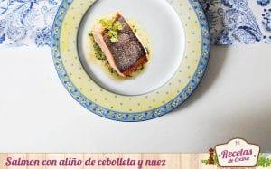 Salmon con aliño de cebolleta y nuez