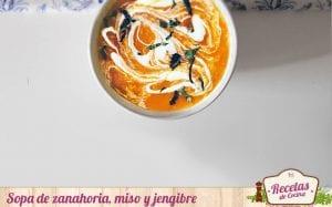 Sopa de zanahoria, miso y jengibre