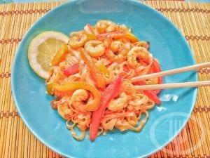 Noodles de arroz con gambas