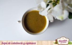 Sopa de calabacín y espinaca