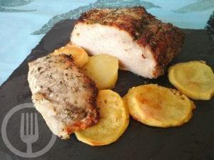 Lomo de cerdo asado en su jugo