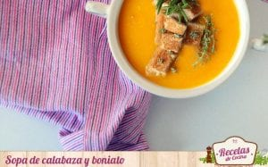 Sopa de calabaza y boniato