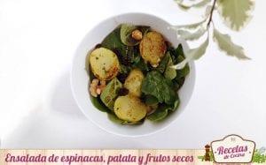 Ensalada de espinacas, patata y frutos secos