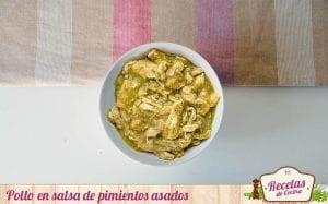 Pollo en salsa de pimientos verdes asados