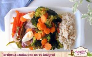 Verduras asadas con arroz integral