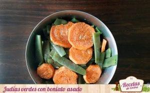 Judías verdes con boniato asado
