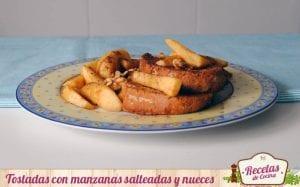 Tostadas con manzanas salteadas y nueces