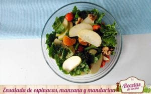 Ensalada de espinacas, manzana y mandarina