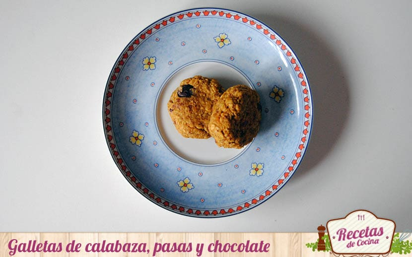 Galletas de calabaza, pasas y chocolate