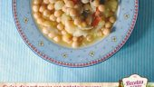 Guiso de garbanzos con patata y puerro