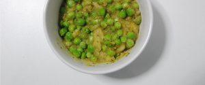 Puré de patatas y brócoli con guisantes