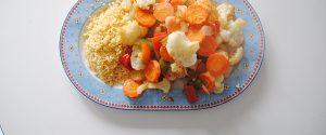 Cuscús con verduras asadas a la cúrcuma