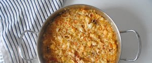 Arroz con calamares y coliflor