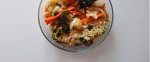 Arroz integral con coliflor y brócoli al vapor
