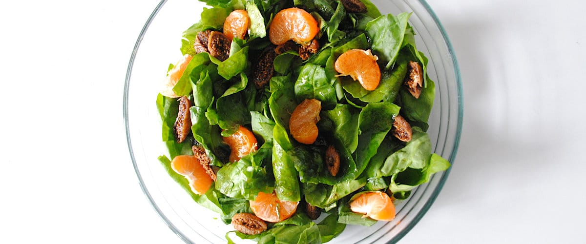 Ensalada de espinacas, mandarina e higos con vinagreta de miel