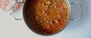 Lentejas con champiñones y tomates secos