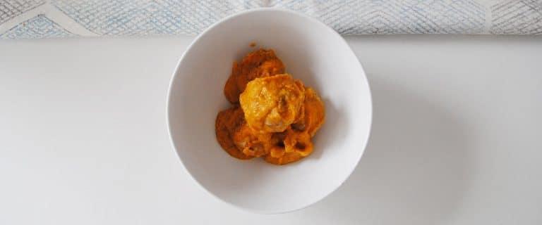 Albóndigas en salsa de zanahoria y calabacín